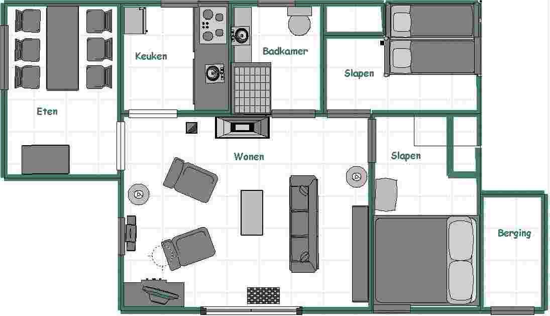 Woonkamer woonkamer tekenen : Het huis heeft een woonkamer met kachel en open haard. Via een u0026quot;open ...